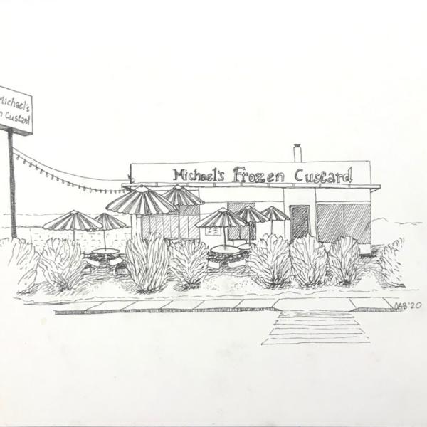Original ink drawing of Michael's Frozen Custard.