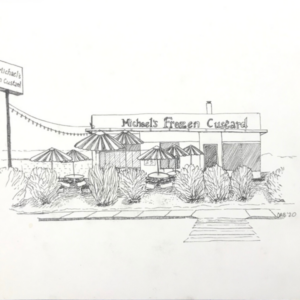 Original ink drawing of Michael's Frozen Custard.